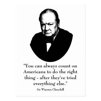 Winston Churchill y cita divertida Postales