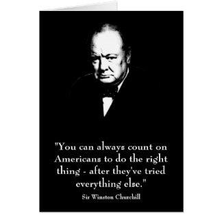 Winston Churchill y cita divertida Tarjeta De Felicitación
