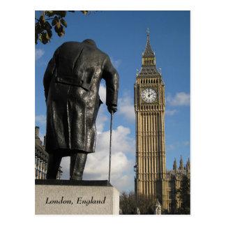 Winston Churchill y postal de Big Ben Londres