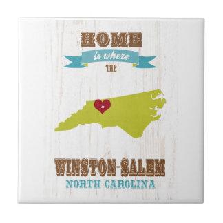 Winston mapa de Salem, Carolina del Norte - casero Azulejo