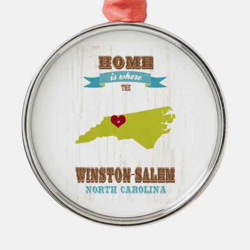 Winston mapa de Salem, Carolina del Norte - casero Ornaments Para Arbol De Navidad