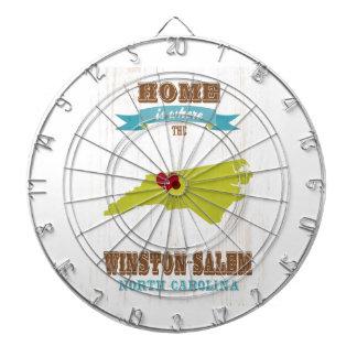 Winston mapa de Salem, Carolina del Norte - casero Tabla Dardos