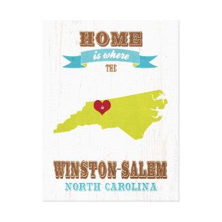 Winston mapa de Salem, Carolina del Norte - casero Impresión En Lona Estirada