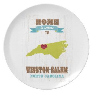 Winston mapa de Salem, Carolina del Norte - casero Plato Para Fiesta