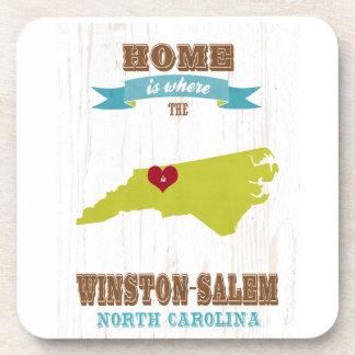 Winston mapa de Salem, Carolina del Norte - casero Posavasos De Bebida