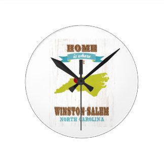 Winston mapa de Salem, Carolina del Norte - casero Reloj De Pared