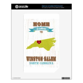 Winston mapa de Salem, Carolina del Norte - casero Calcomanías Para El NOOK Color