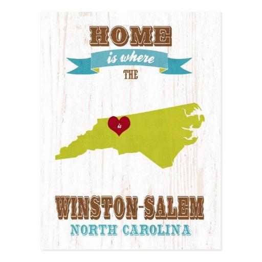 Winston mapa de Salem, Carolina del Norte - casero Postal