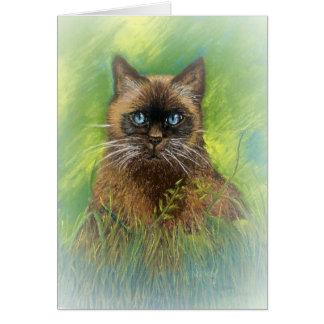 Winston, nuestro gato siamés del punto del sello tarjetón