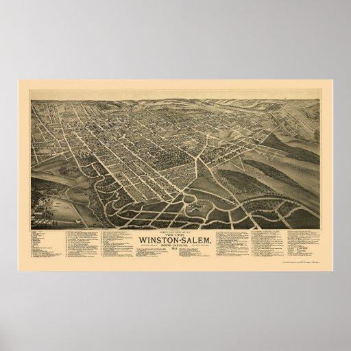 Winston-Salem, mapa panorámico del NC - 1891 Impresiones