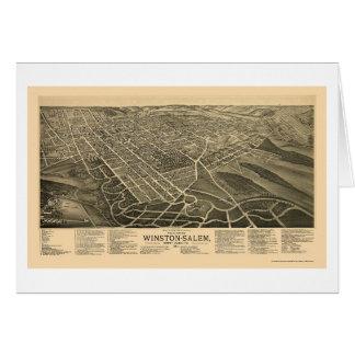 Winston-Salem, mapa panorámico del NC - 1891 Tarjeta