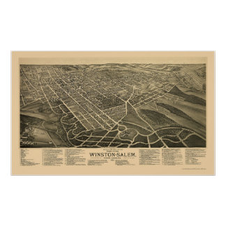 Winston-Salem, NC Panoramic Map - 1891 Print