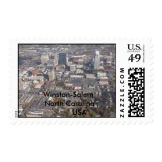 Winston-Salem North Carolina aerial Postage Stamp