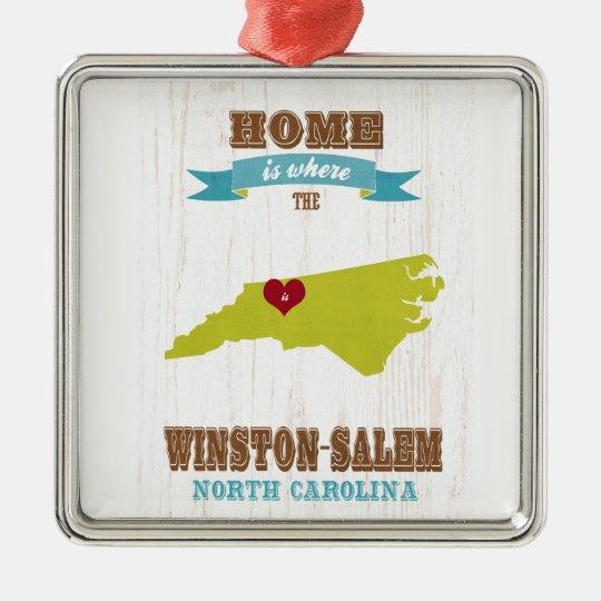 Winston Salem, North Carolina Map – Home Is Where Metal Ornament