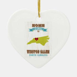 Winston Salem North Carolina Map – Home Is Where Christmas Tree Ornament