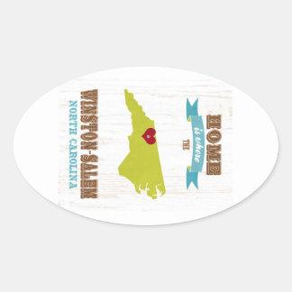 Winston Salem, North Carolina Map – Home Is Where Oval Sticker