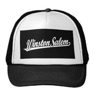 Winston-Salem script logo in white Hats