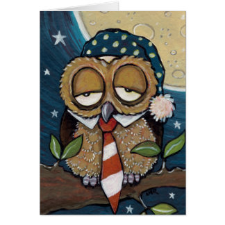 Winston | Sleepy Business Owl Art Card