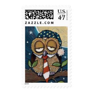 Winston | Sleepy Business Owl Art Postage