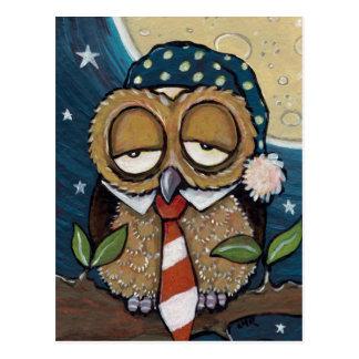 Winston   Sleepy Business Owl Art Postcard