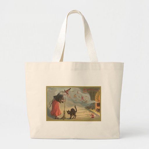 Wintage Halloween Witch, Cat Jumbo Tote Bag