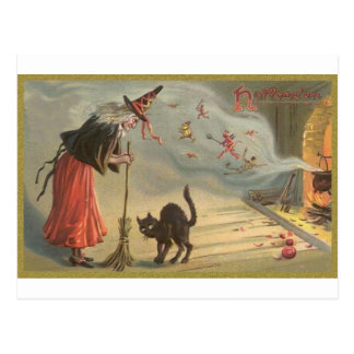 Wintage Halloween Witch, Cat Postcard