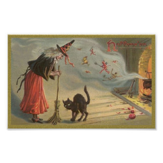 Wintage Halloween Witch, Cat Poster