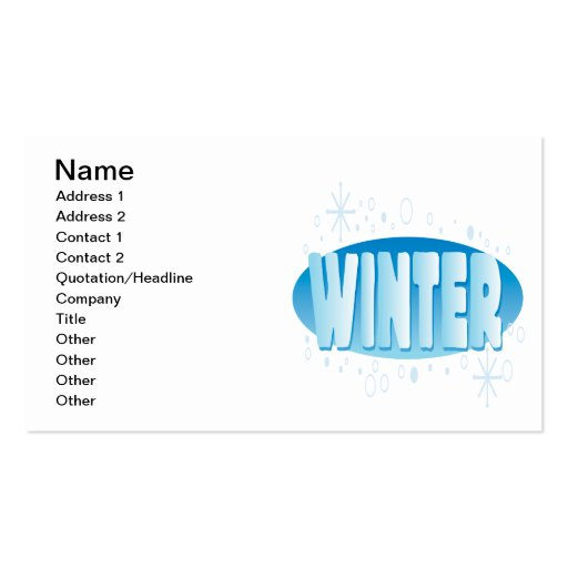 Winter 4 business card template