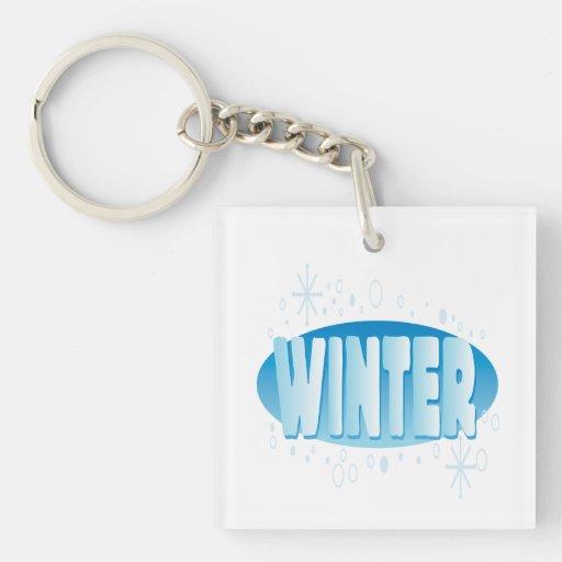 Winter 4 Single-Sided square acrylic keychain