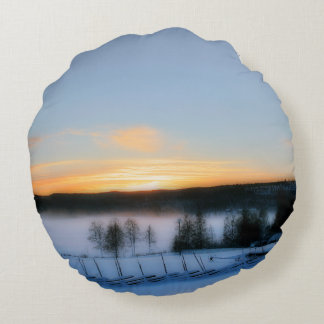 Winter Afternoon Round Pillow