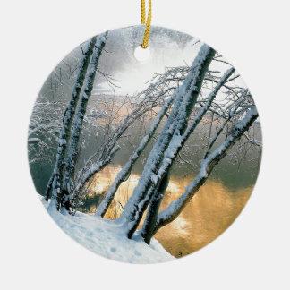 Winter Alder Trees Merced River Yosemite Ceramic Ornament