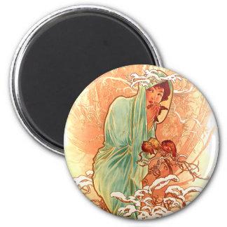 Winter - Alphonse Mucha Art Nouveau 2 Inch Round Magnet