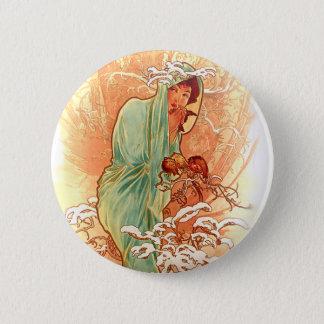 Winter - Alphonse Mucha Art Nouveau Button