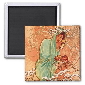 Winter - Alphonse Mucha Art Nouveau Magnet