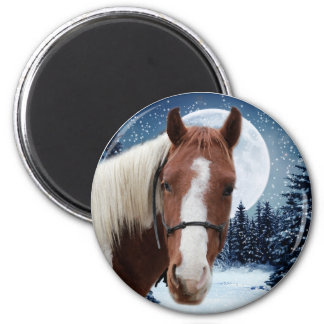 Winter American Paint Horse 2 Inch Round Magnet