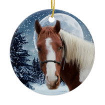 Winter American Paint Horse Ceramic Ornament