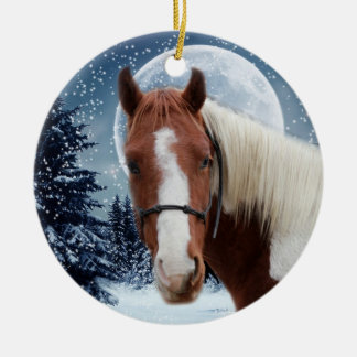 Winter American Paint Horse Double-Sided Ceramic Round Christmas Ornament