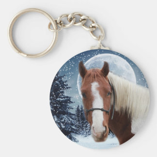Winter American Paint Horse Keychain