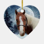 Winter American Paint Horse Ornament