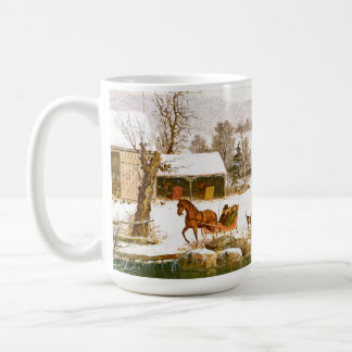Winter Americana Country Horses Sleigh Town Mug