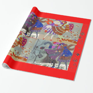 WINTER AND FALL ART DECO BEAUTY FASHION ,red Wrapping Paper