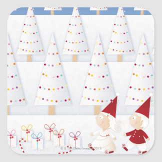 Winter and forest all covered with snow square sticker