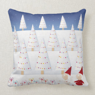 Winter and forest all covered with snow throw pillow