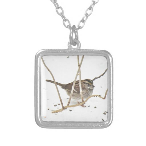 Winter and the Sparrow Square Pendant Necklace