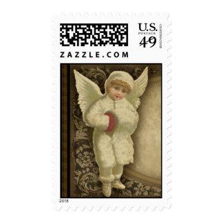 Winter Angel Victorian Postage Stamp