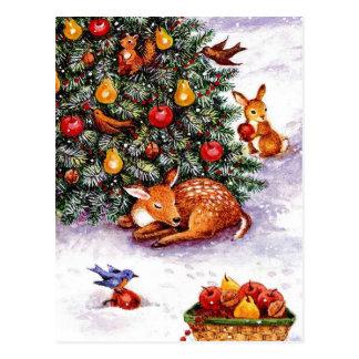 winter animals feast postcard