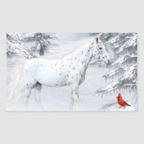 Winter appaloosa rectangular sticker