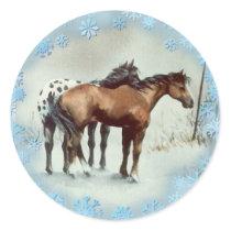 WINTER APPALOOSA & SNOWFLAKES by SHARON SHARPE Classic Round Sticker