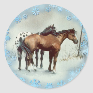 WINTER APPALOOSA & SNOWFLAKES by SHARON SHARPE Classic Round Sticker
