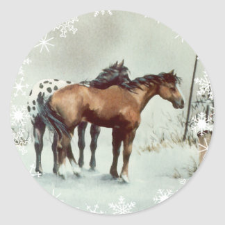 WINTER APPALOOSA & SNOWFLAKES by SHARON SHARPE Sticker